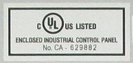 UL508A Label on UL Listed Control Panel